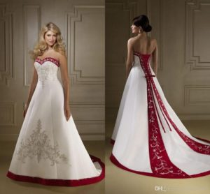 wedding gown red trail